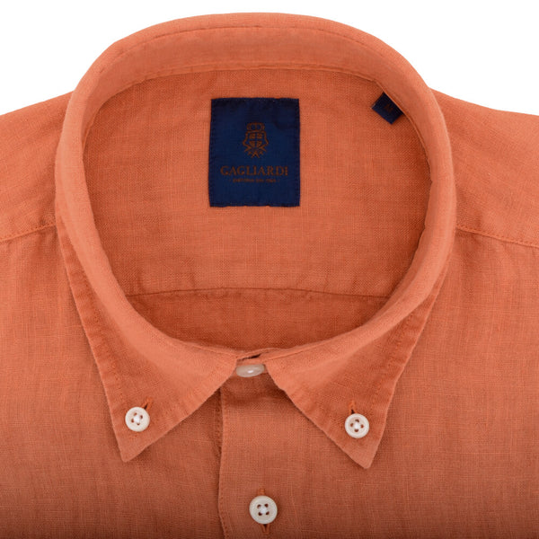Orange Linen Button Down Shirt
