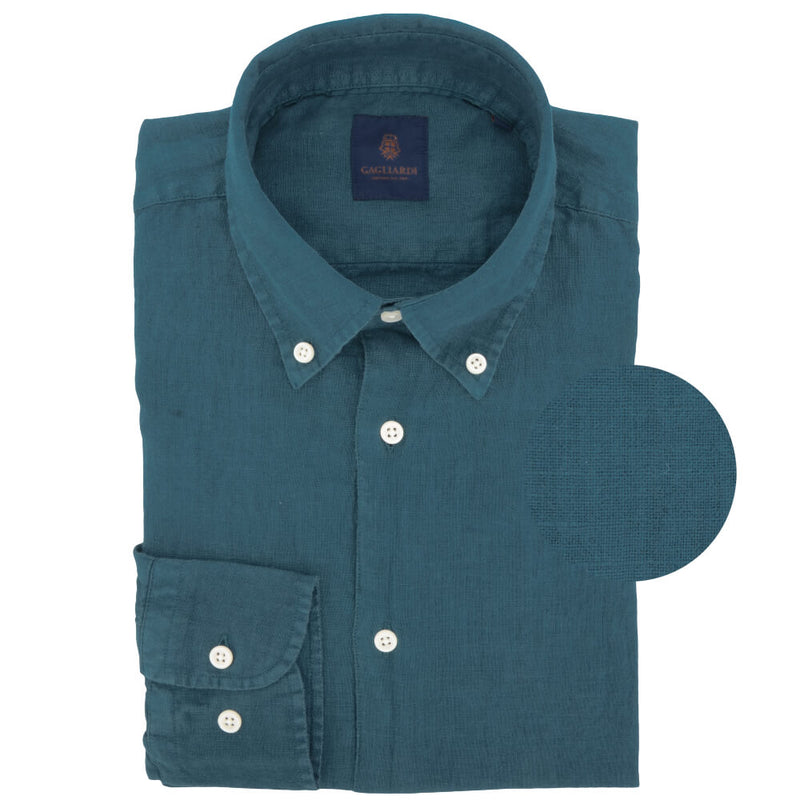 Green Linen Button Down Shirt - Gagliardi