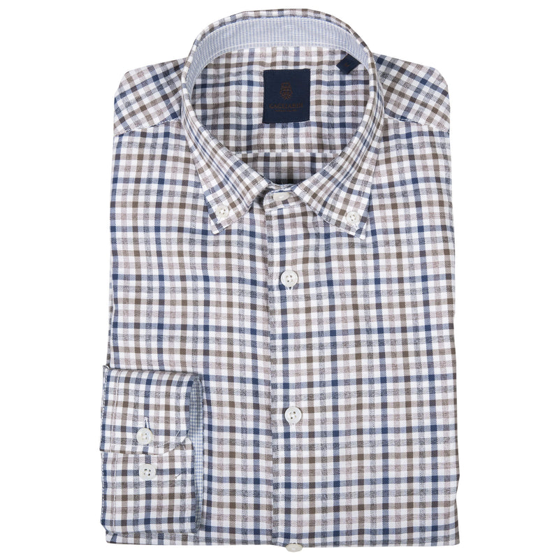Tailored Fit Brown & Blue Gingham Check Shirt