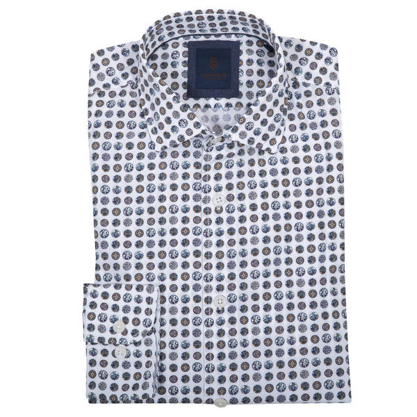 Slim Fit White Shirt With Blue Bead Print