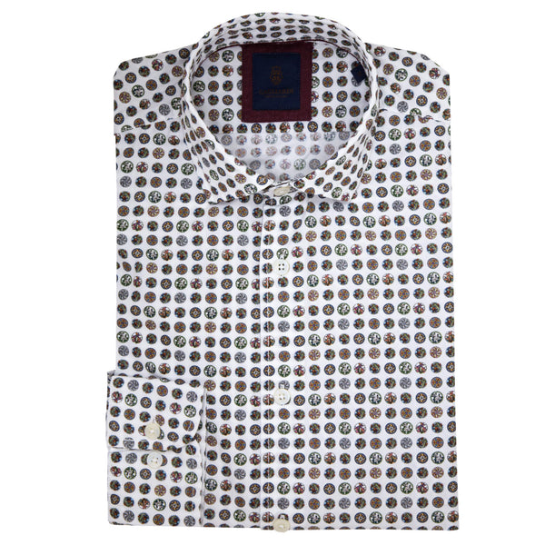 Slim Fit White Shirt With Orange Bead Print