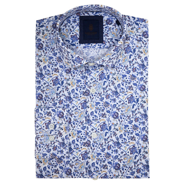 Slim Fit White Shirt With Blue Floral Print