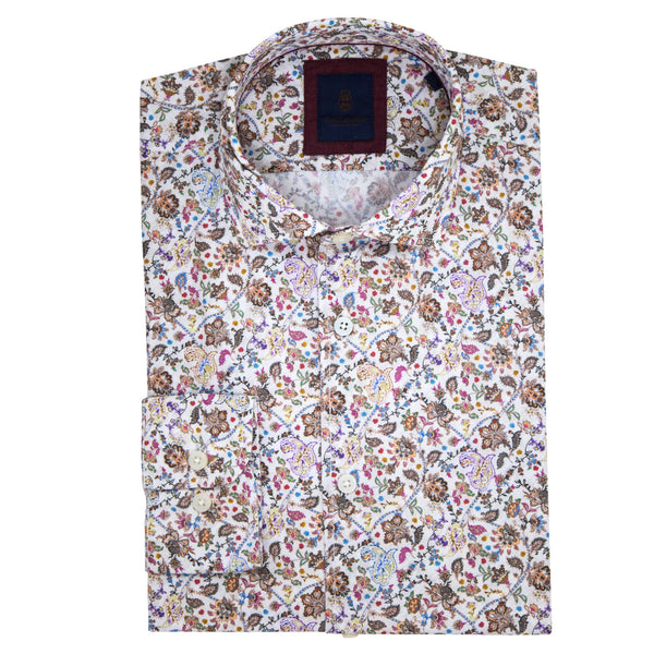 Slim Fit White Shirt With Orange Floral Print