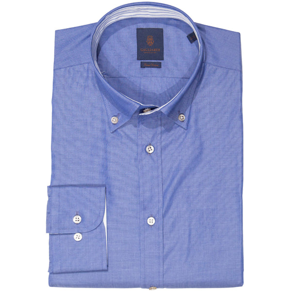 Slim Fit Blue End-On-End Button Down Shirt