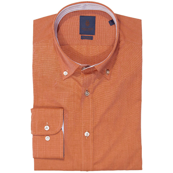 Slim Fit Orange End-On-End Button Down Shirt