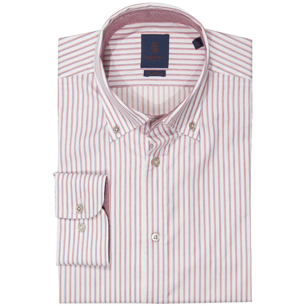 Slim Fit Red Stripe Button Down Shirt