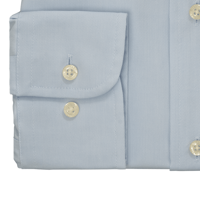 Sky Oxford Buttondown Collar Single Cuffed Slim-Fit Non-Iron Shirt - Gagliardi