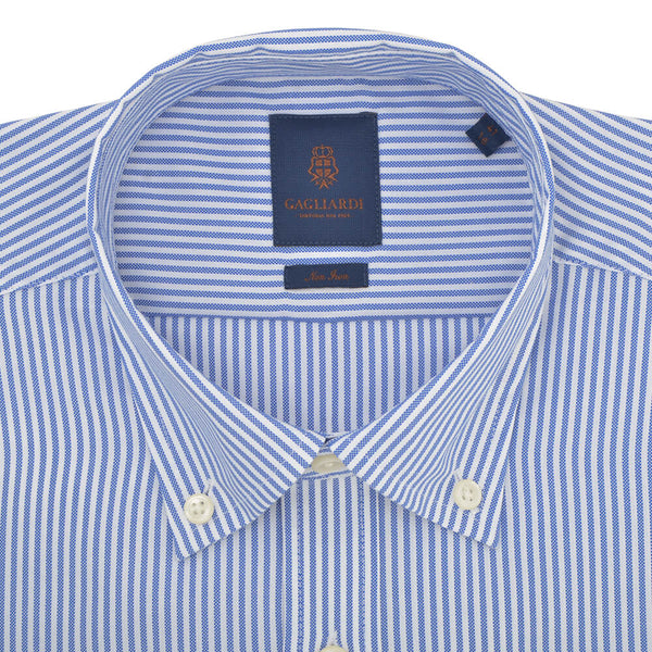 Slim Fit Blue Stripe Oxford Button Down Collar Non-iron Shirt - Gagliardi