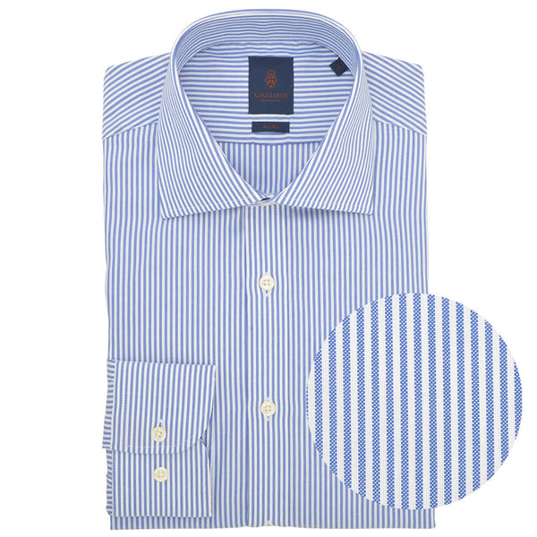 Slim Fit Blue Stripe Oxford Cutaway Collar Non-iron Shirt - Gagliardi