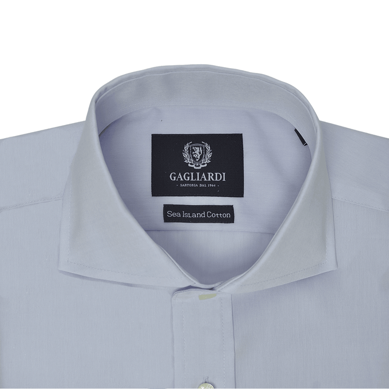 Sky Sea Island Cotton Slim-Fit Long Sleeved Shirt