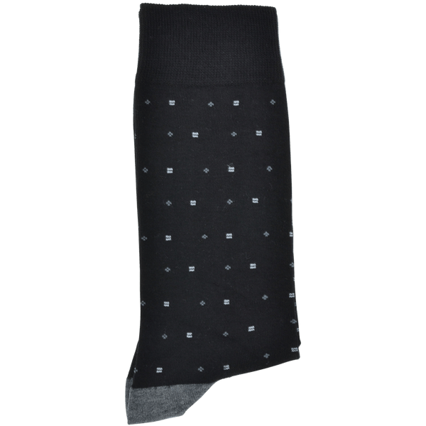 Black Heel And Toe Sock With Grey Pattern - Gagliardi