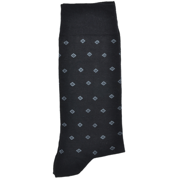 Black Sock With Dark Charcoal Grey Melange Diamond Pattern - Gagliardi