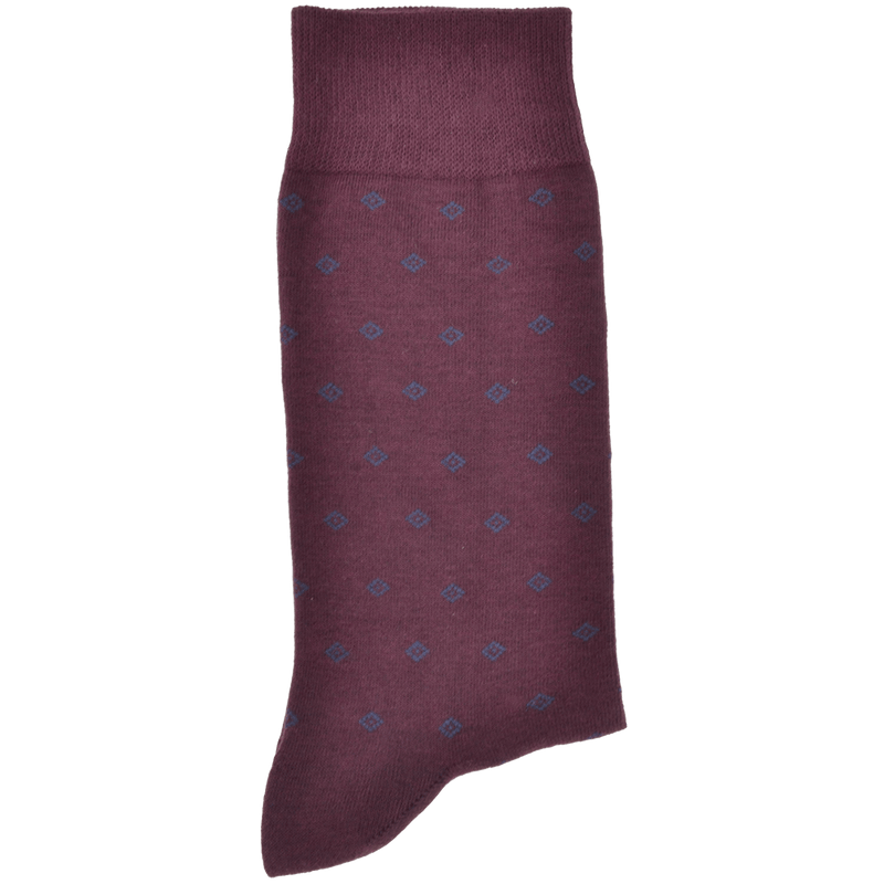 Burgundy Sock With Dark Navy Diamond Pattern
