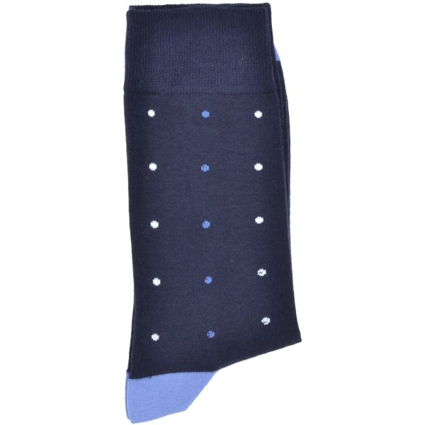 Dark Navy Heel And Toe Sock With Mid Blue And Off White Spots - Gagliardi