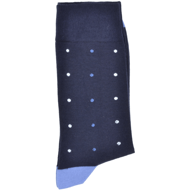 Dark Navy Heel And Toe Sock With Mid Blue And Off White Spots