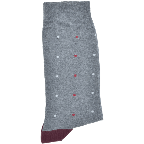 Dark Charcoal Grey Melange Heel And Toe Sock With Burgundy And Light Grey Spots - Gagliardi
