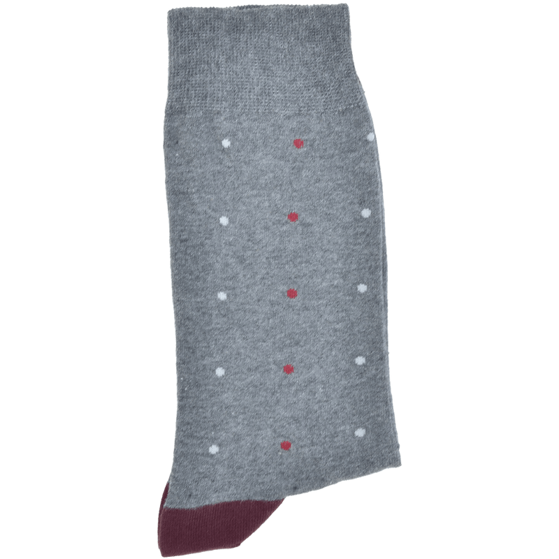 Dark Charcoal Grey Melange Heel And Toe Sock With Burgundy And Light Grey Spots