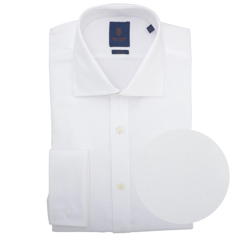 Slim Fit White Oxford Cutaway Collar Non-iron Double Cuff Shirt - Gagliardi