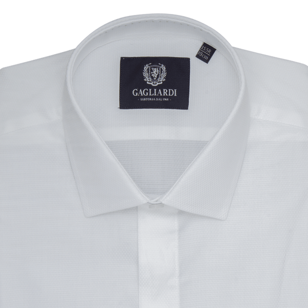 White Plain Slim Fit Classic Collar Shirt - Gagliardi