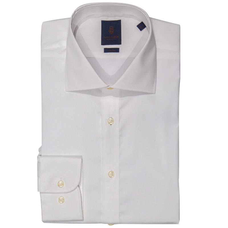 White Slim Fit Cutaway Collar Single Cuffed Shirt