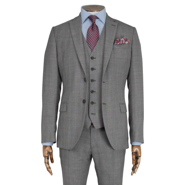 Grey & Raspberry Checked Suit - Gagliardi