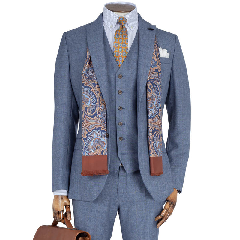Mid Blue Melange Prince of Wales Check 2-Piece Suit - Gagliardi