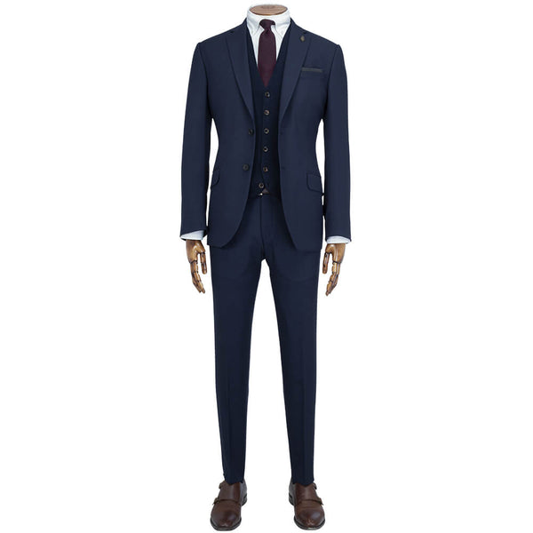 Mid Navy Birdseye Travel Comfort 2-Piece Suit - Gagliardi