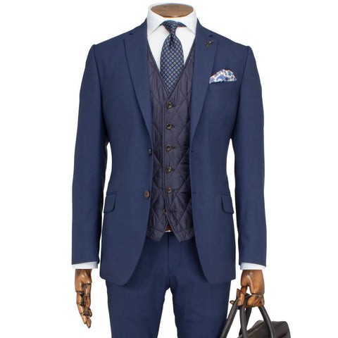 Mid Blue Plain Travel Comfort 2-Piece Suit