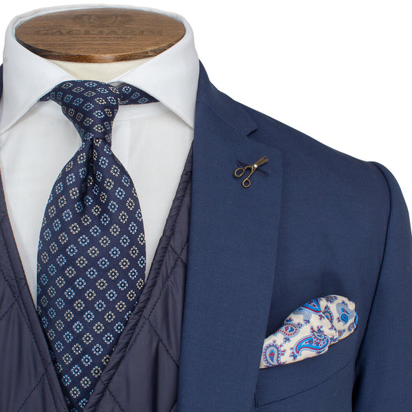 Mid Blue Plain Travel Comfort 2-Piece Suit - Gagliardi