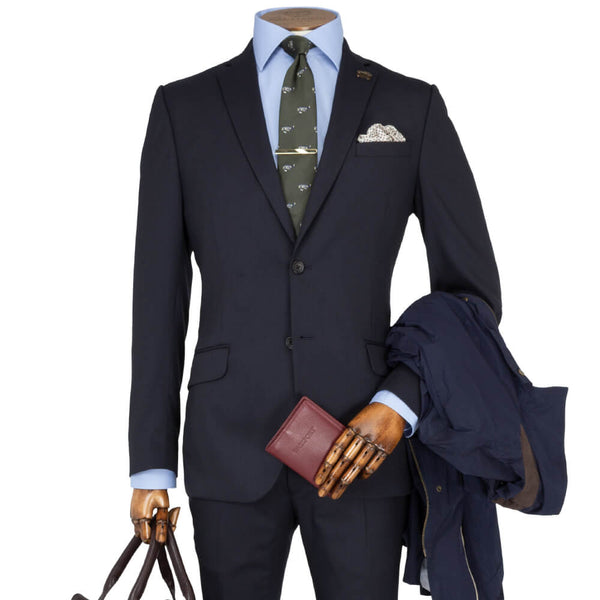 Mid Navy Plain Travel Comfort 2-Piece Suit - Gagliardi