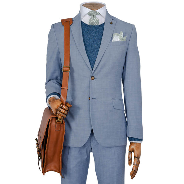 Light Air Force Blue Plain Melange Suit - Gagliardi
