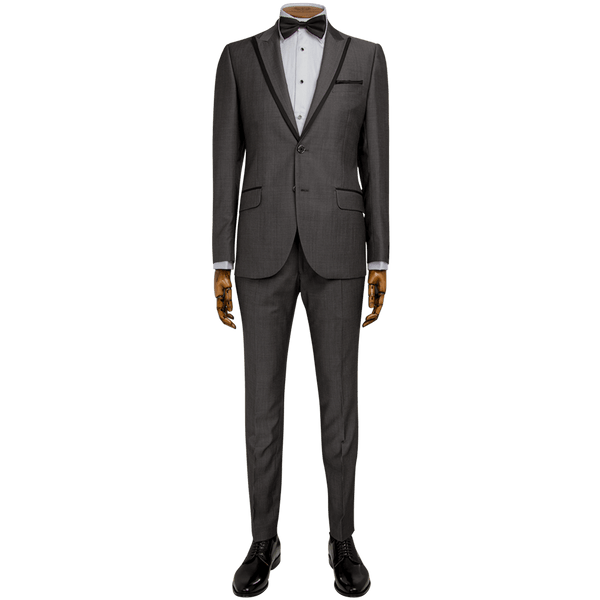 Grey/Black Micro Diamond Weave Evening Two-Piece Tuxedo