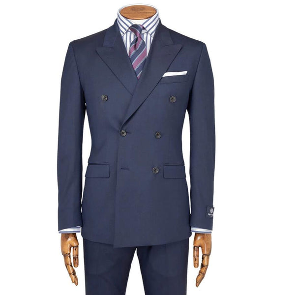Blue Twill Double Breasted Suit - Gagliardi