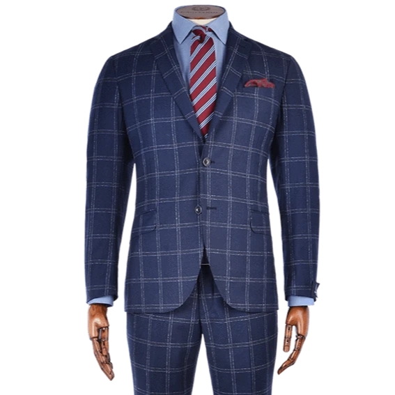 Midnight Blue & Red Windowpane Check Cashmere Blend Two-Piece Suit