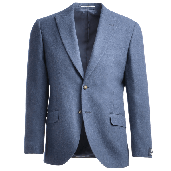 Mid Blue Melange Flannel Twill Cashmere Blend Two-Piece Suit - Gagliardi