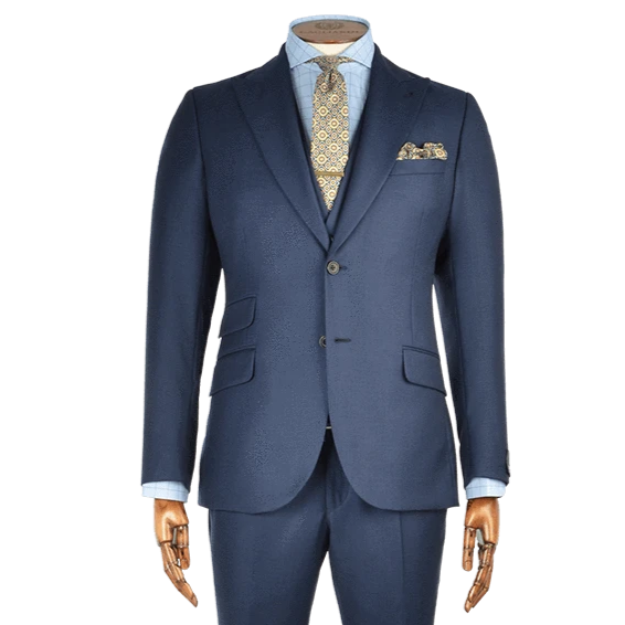Mid Navy Birdseye Two-Piece Suit - Gagliardi