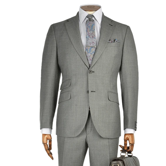 Mid Grey Birdseye Wool Two-Piece Suit - Gagliardi