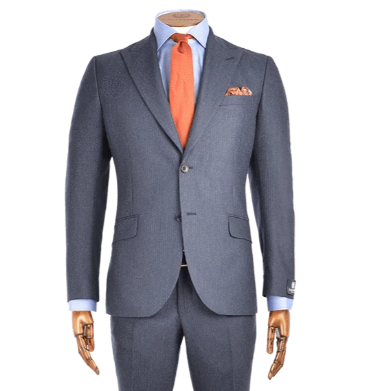 Navy Melange Fine Chalk Stripe Cashmere Blend Two-Piece Suit - Gagliardi