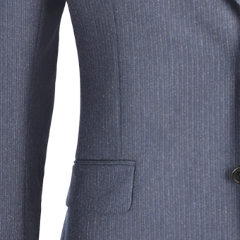 Navy Melange Fine Chalk Stripe Cashmere Blend Two-Piece Suit