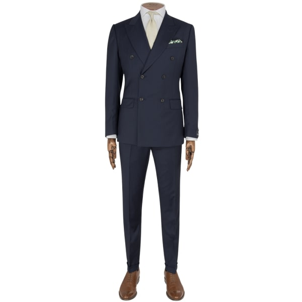 Navy Striped Double Breasted Suit - Gagliardi