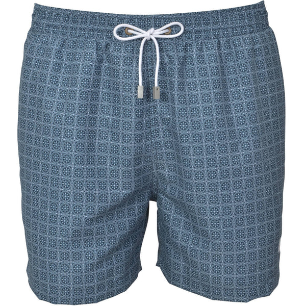 Navy Maltese Tile Print Swim Shorts
