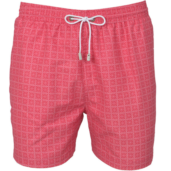 Red Maltese Tile Print Swim Shorts
