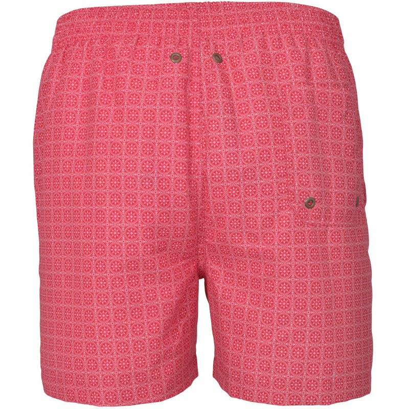 Red Maltese Tile Print Swim Shorts - Gagliardi