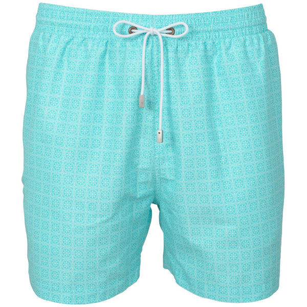 Turquoise Maltese Tile Print Swim Shorts
