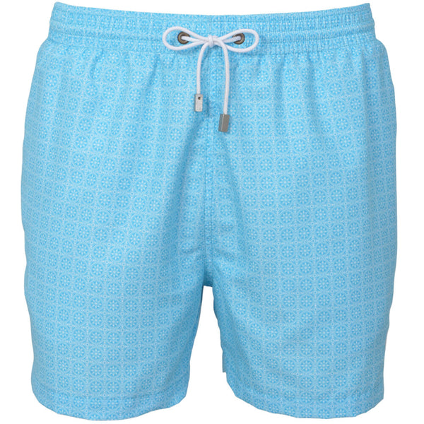 Blue Maltese Tile Print Swim Shorts