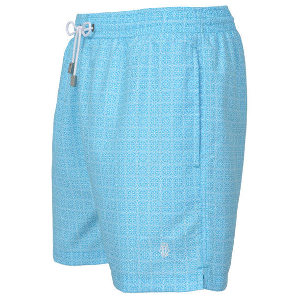 Blue Maltese Tile Print Swim Shorts - Gagliardi