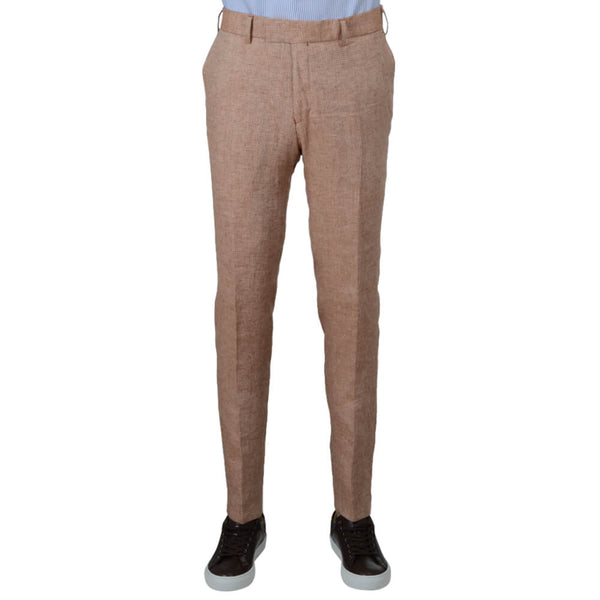 Orange Dogstooth Linen Trousers