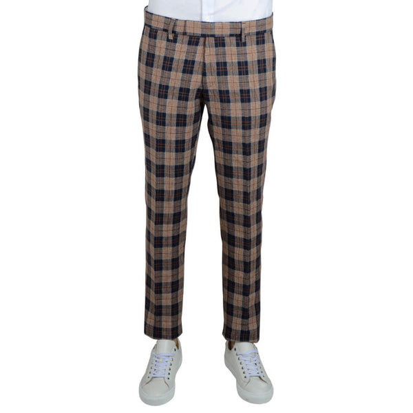 Navy and Orange Check Trousers - Gagliardi