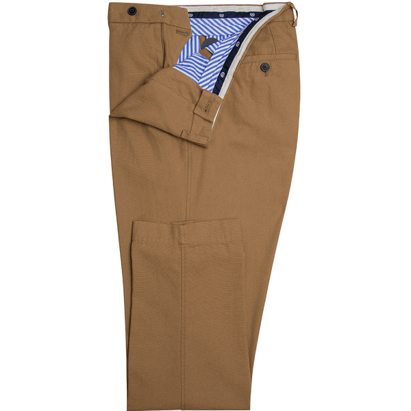 Camel Plain Cotton Trousers - Gagliardi