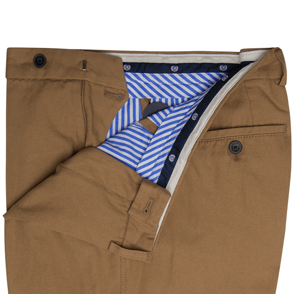 Camel Plain Cotton Trousers